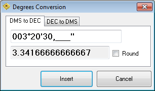 Degrees conversion - DMS to decimal