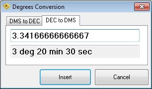 Degrees conversion - Decimal to DMS